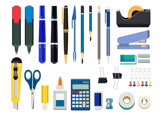 Inzameling van bureaukantoorbehoeften op witte achtergrond wordt geïsoleerd die Gratis Vector