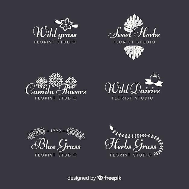 Inzameling van de emblemen van de huwelijksbloemist Premium Vector