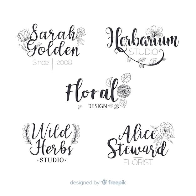 Inzameling van de emblemen van de huwelijksbloemist Gratis Vector