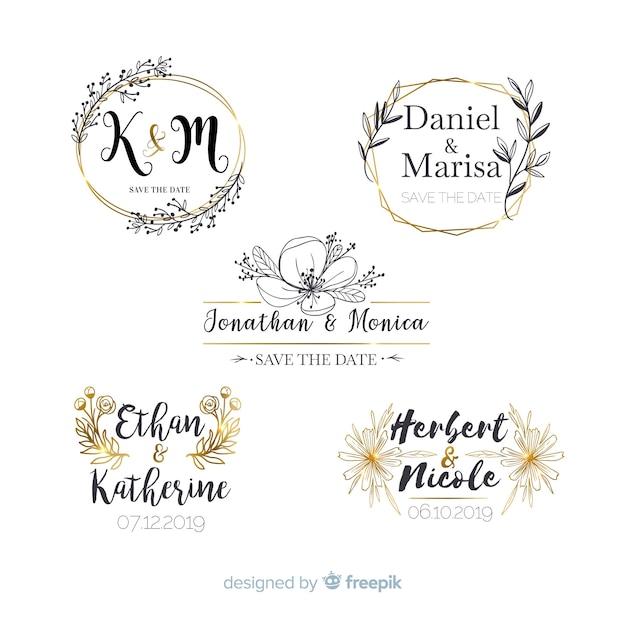 Inzameling van de emblemen van het huwelijksmonogram Gratis Vector
