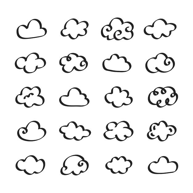 Inzameling van de illustratie van wolkenpictogrammen Gratis Vector