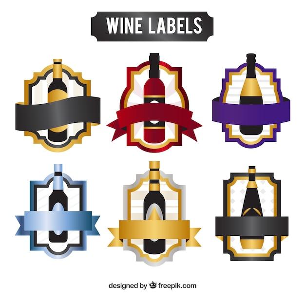 Inzameling van elegante wijnstickers Gratis Vector