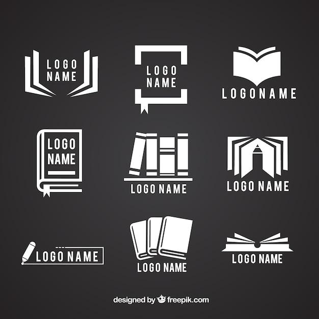 Inzameling van emblemen met boeken Gratis Vector