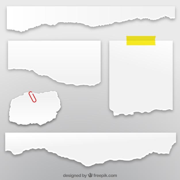 Inzameling van gescheurd papier vellen Premium Vector