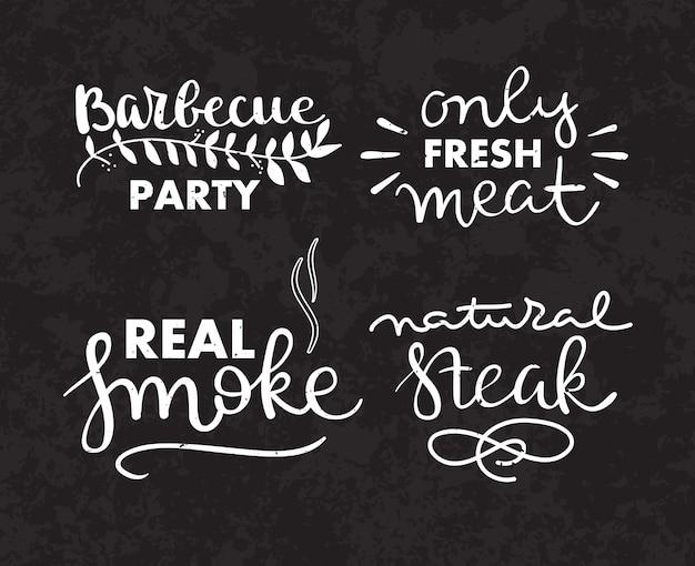 Inzameling van hand getrokken tekst van geroosterd voedsel, worsten, kip, frieten, lapjes vlees, vissen Gratis Vector