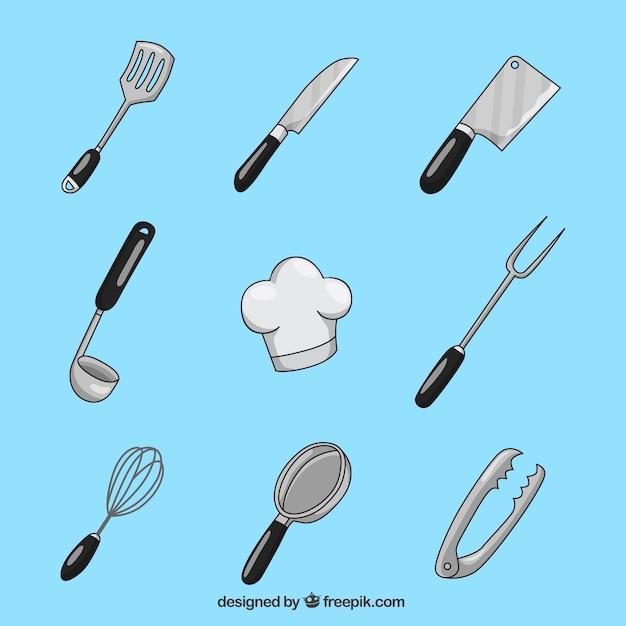 Inzameling van handgereed keukengerei Gratis Vector