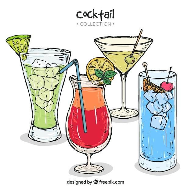 Inzameling van handgetekende cocktails Gratis Vector