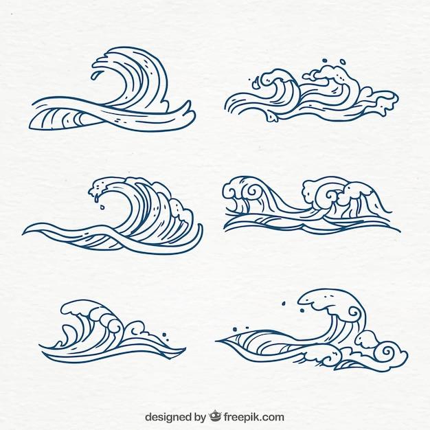 Inzameling van handgetekende golven Gratis Vector