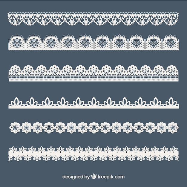 Inzameling van kant ornamenten Gratis Vector