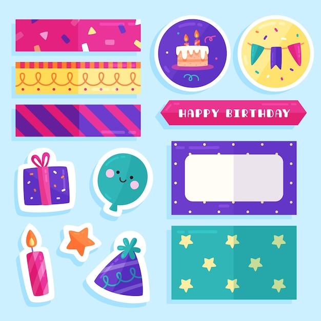 Inzameling van kleurrijk verjaardagsplakboek Gratis Vector