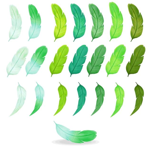 Inzameling van kleurrijke waterverfveren, groen palet Premium Vector