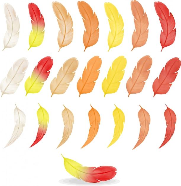 Inzameling van kleurrijke waterverfveren, warm kleurenpalet Premium Vector
