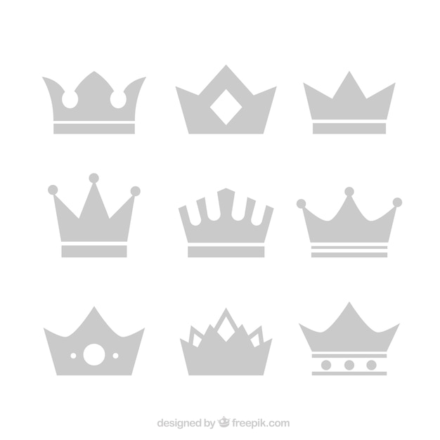 Inzameling van kronen in plat ontwerp Gratis Vector