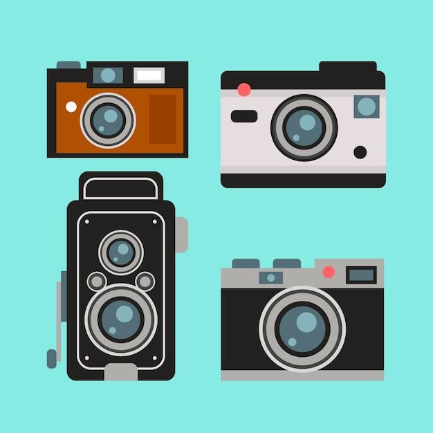 Inzameling van leuke retro camera in plat design vector for Camera blueprint maker gratuito