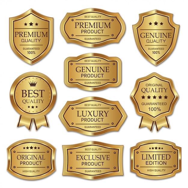 Inzameling van metaal gouden kenteken en etiketten kwaliteitsproduct Premium Vector
