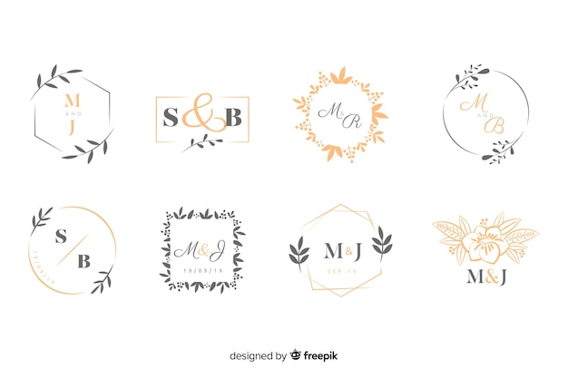 Inzameling van monogramemblemen met bladeren Gratis Vector