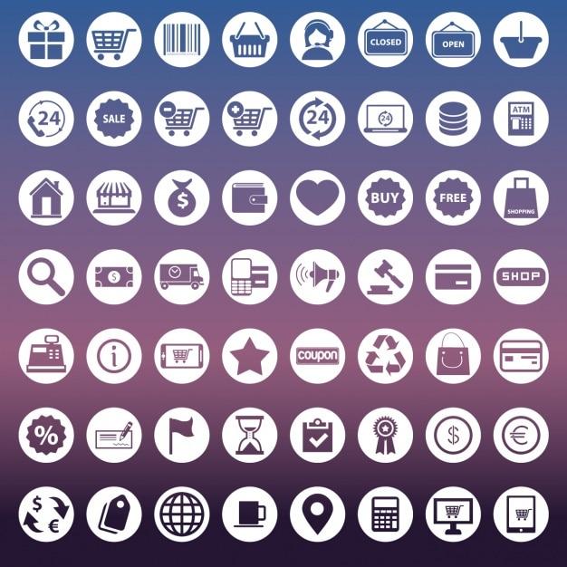 Inzameling van pictogrammen voor e-commerce Gratis Vector