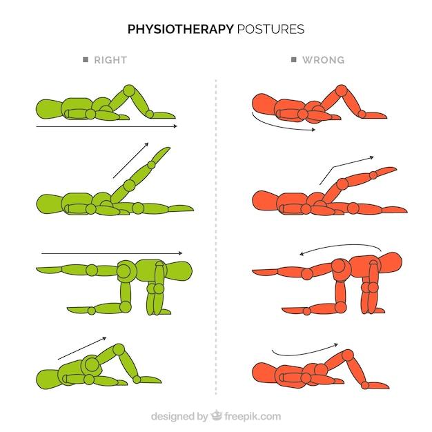 Inzameling van posturale correcties Premium Vector