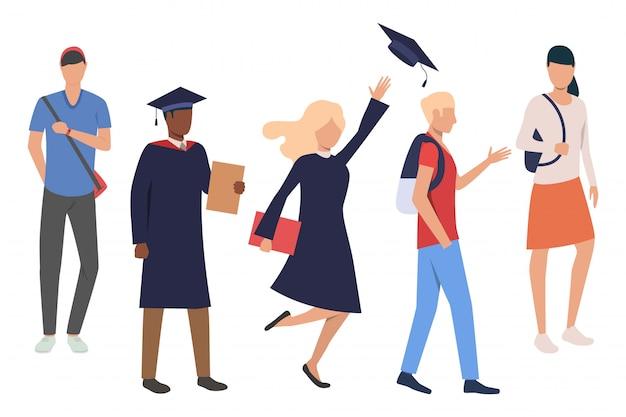 Inzameling van studenten die graduatie vieren Gratis Vector