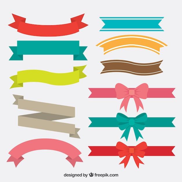 Inzameling van uitstekende kleurrijke linten Gratis Vector