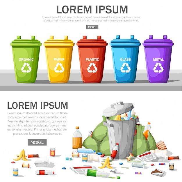 Inzameling van vuilnisbakken met gesorteerd afval. stalen vuilnisbak vol afval. ecologie en recycle concept. afvalrecycling en gebruik concept. illustratie op witte achtergrond Premium Vector