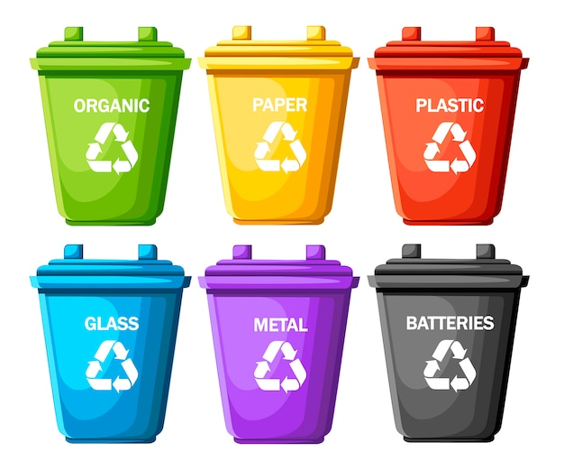 Inzameling van vuilnisbakken met gesorteerd afval. zes containers voor glas, metaal, batterijen, plastic, papier, biologisch. ecologie en recycle concept. illustratie op witte achtergrond Premium Vector
