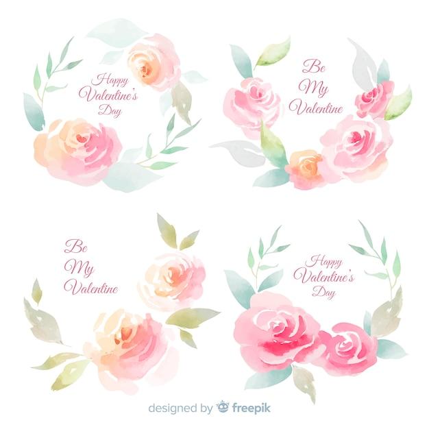 Inzameling van waterverfbloemen voor valentijnskaart Gratis Vector