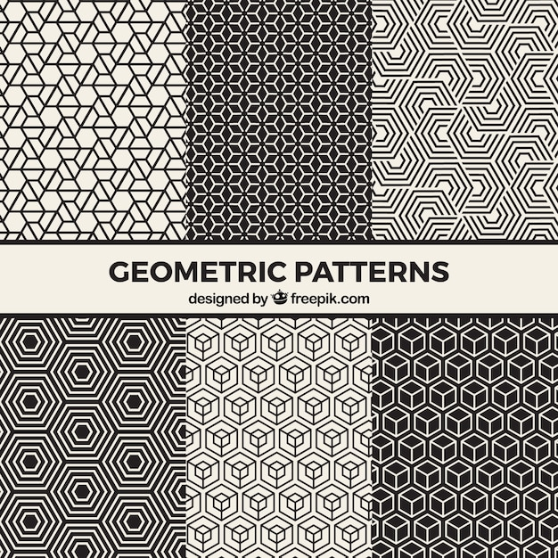 Inzameling van zwart-witte geometrische patronen Gratis Vector