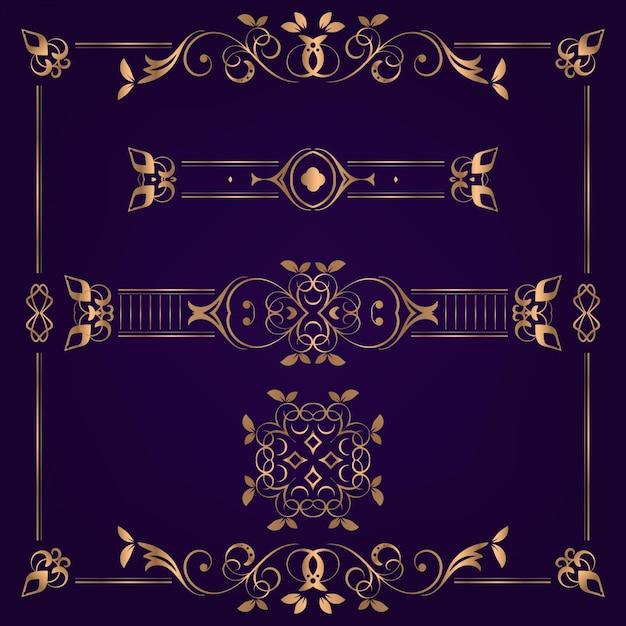 Inzamelingsreeks van de vectorillustratie van het etiketornament Premium Vector