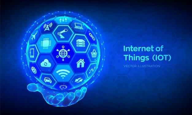 Iot. internet van dingen . alles connectiviteit apparaatnetwerk en zakendoen met internet. abstracte 3d bol of bol met oppervlak van zeshoeken in draadframe hand. illustratie Premium Vector