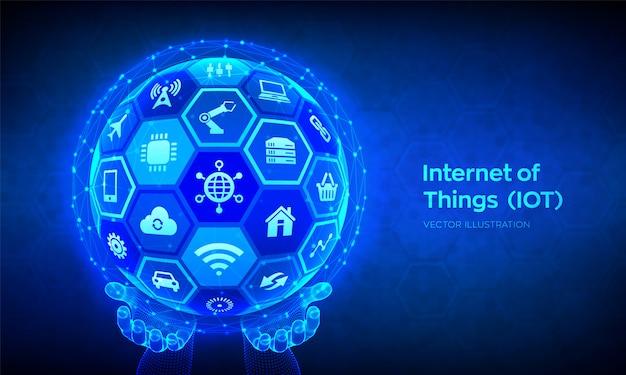 Iot. internet van dingen concept. abstracte 3d bol of bol met oppervlak van zeshoeken in draadframe handen. Premium Vector