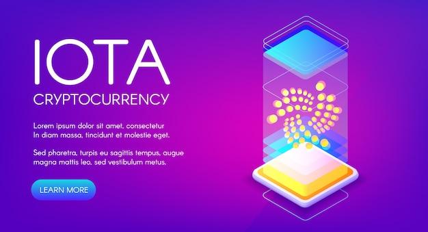 Iota cryptocurrency illustratie van blockchain mijnbouwtechnologie. Gratis Vector