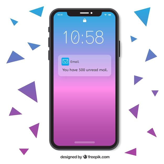 Iphone x met gradiëntbehang Gratis Vector