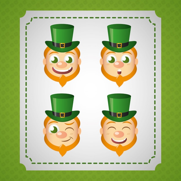 Irish leprechaun set, st patricks dag Gratis Vector