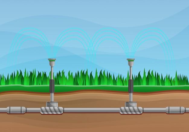 Irrigatiesysteem concept illustratie cartoon stijl Premium Vector