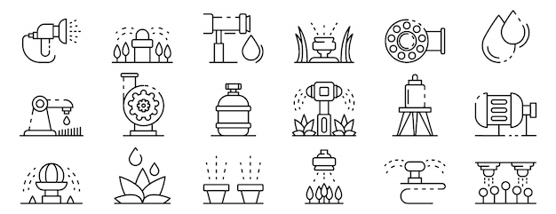 Irrigatiesysteem iconen set, kaderstijl Premium Vector