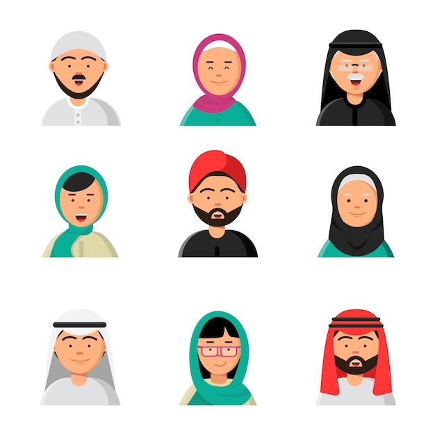 Islam mensen pictogram, web arabische avatars moslim hoofden van mannen en vrouwen in hijab niqab saoedi-gezichten in vlakke stijl Premium Vector
