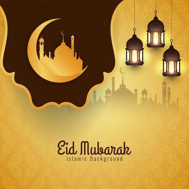 Islamitisch festival eid mubarak helder Gratis Vector