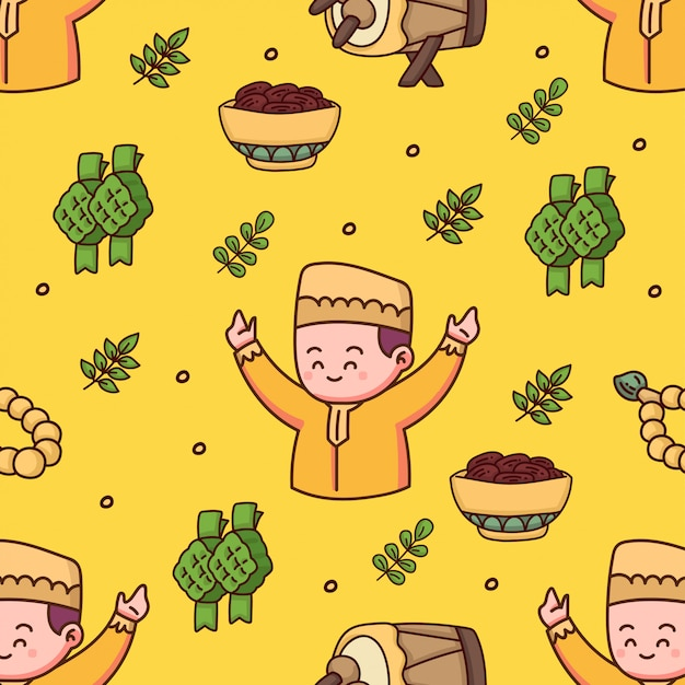 Islamitisch naadloos patroon gelukkige eid mubarak hand getrokken illustratie Premium Vector