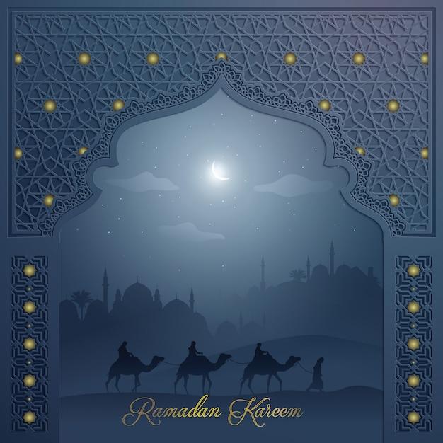 Islamitische achtergrond voor de groet moskee deur met arabische patroon en arabische landschap ramadan kareem Premium Vector