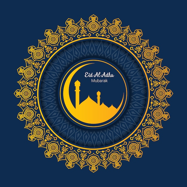 Islamitische bedevaart voor eid al adha-groeten Premium Vector