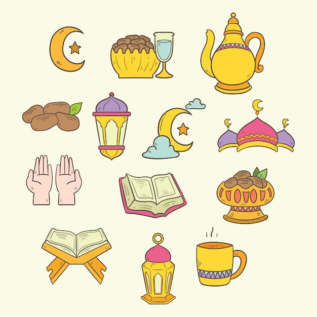 Islamitische doodle kunst ingesteld voor ramadan kareem illustratie Premium Vector