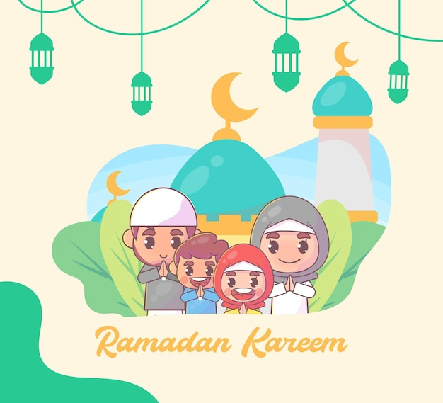 Islamitische familie groet ramadan kareem islamitisch Premium Vector