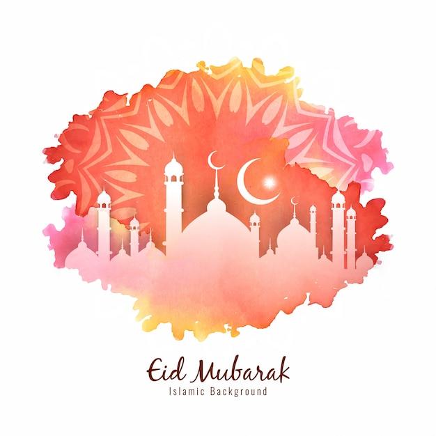 Islamitische festival eid mubarak kleurrijke achtergrond Gratis Vector