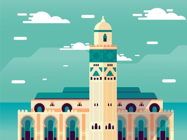 Islamitische moskee op hemel Premium Vector