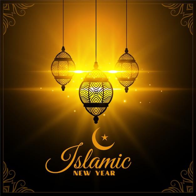 Islamitische nieuwjaarskaart die met lantaarns gloeit Gratis Vector