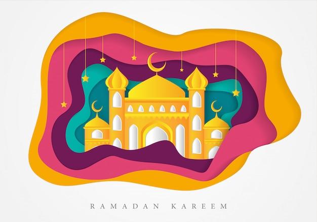 Islamitische ramadan kareem achtergrond sjabloon Premium Vector