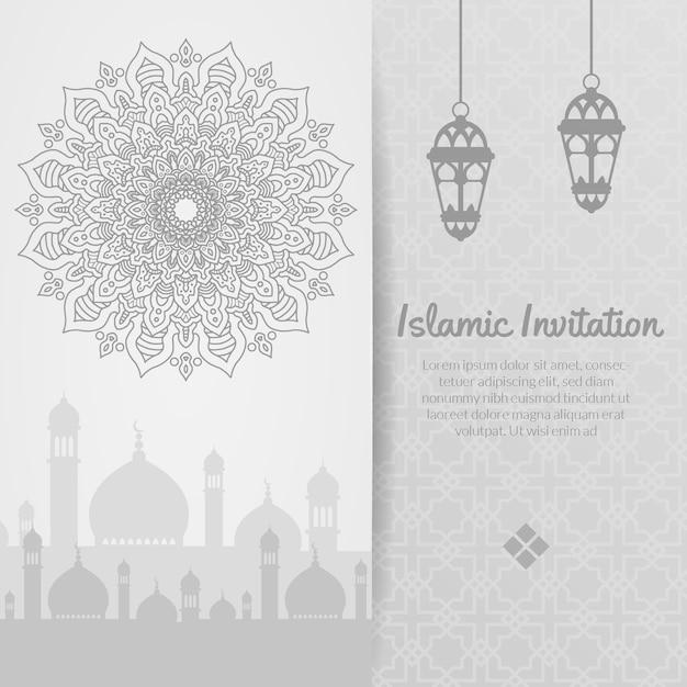 Islamitische uitnodiging, ramadhan kareem, eid al adha, eid al fitri, sier Premium Vector