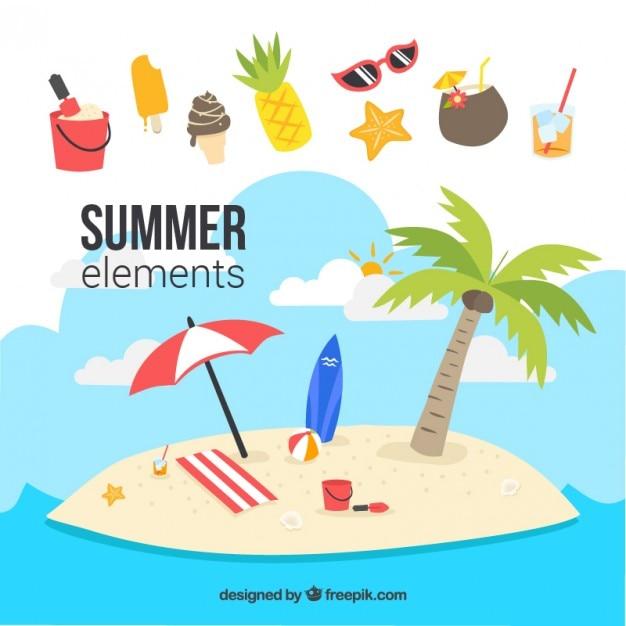 Island met de zomer elementen Gratis Vector