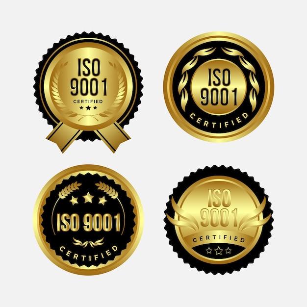 Iso-certificering badge-collectie Gratis Vector